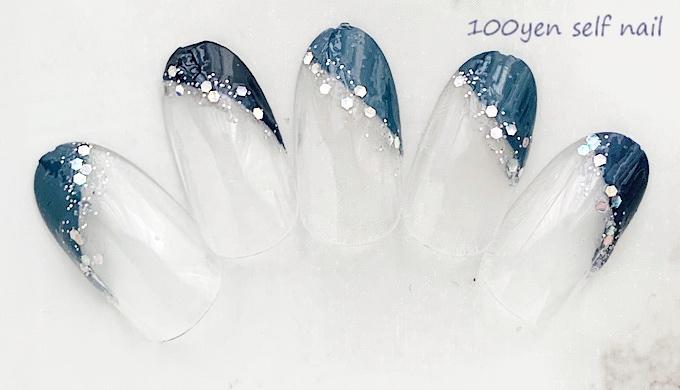 指長効果のある斜めフレンチネイル