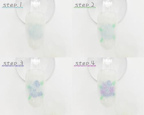 スポンジで紫陽花を作る